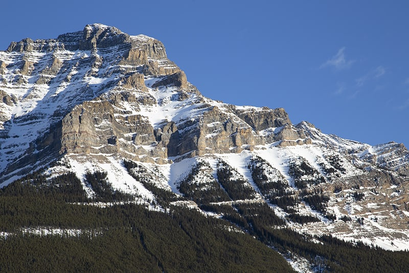 A mountain stands tall in Jasper National Park