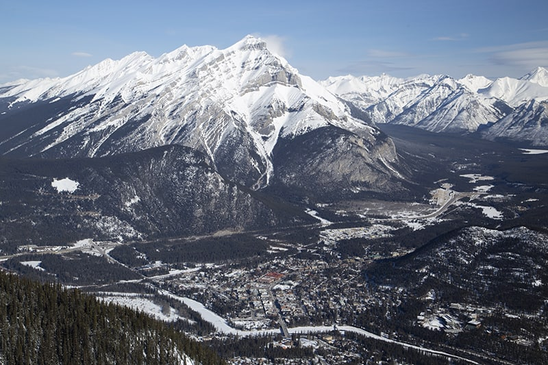 The town of Banff as seen from the top of Sulphur Mountain.