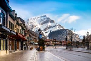 Mountain views in downtown Banff