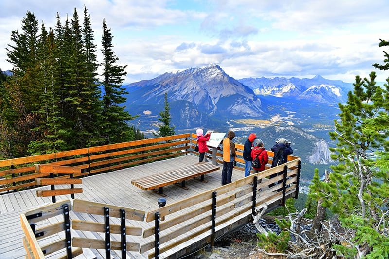 The lookout point on top of Sulphur Mountain in Banff, Alberta.