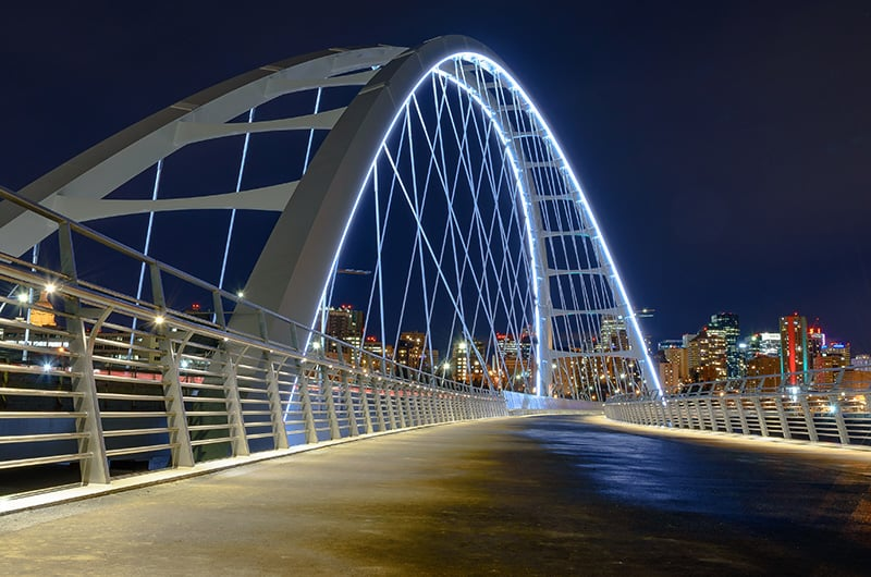 The Walterdale Bridge at night in Edmonton, Alberta