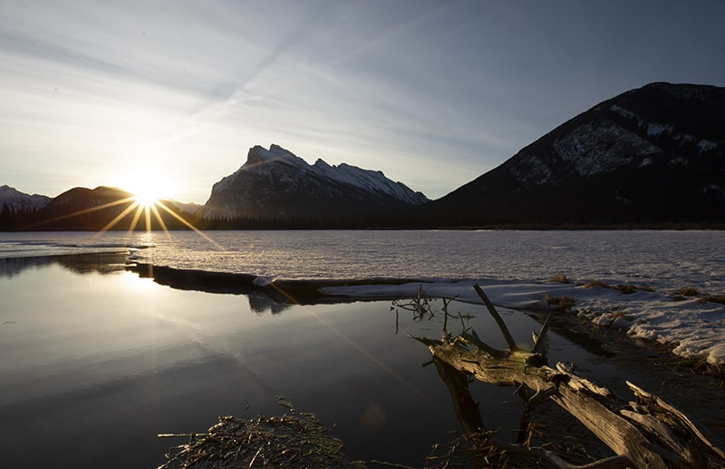 Sunrise on Vermillion Lakes, Banff, Alberta.