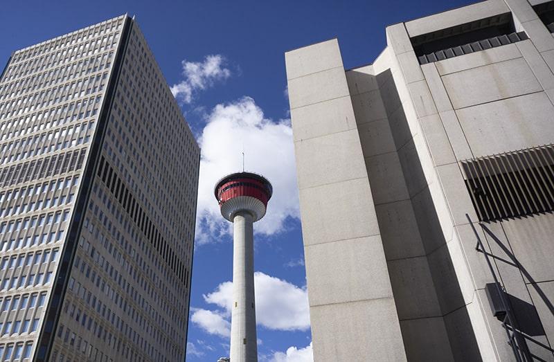 Calgary Tower peeks through skyscrapers