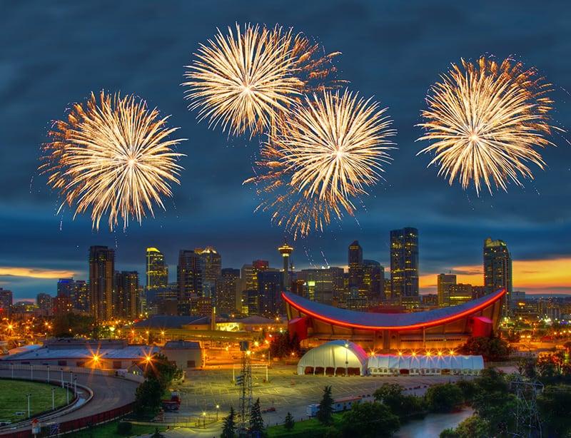 Fireworks over Calgary Alberta