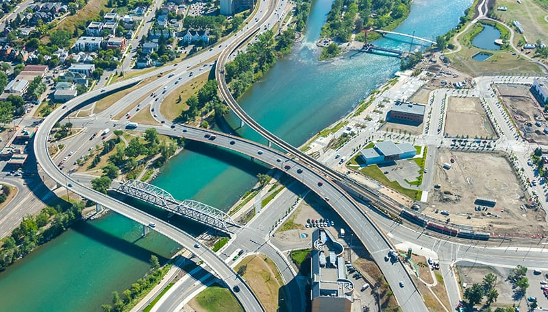 The Bow River in Calgary from overhead