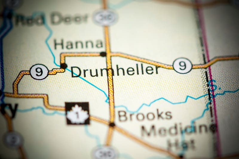 Drumheller on the Alberta map.
