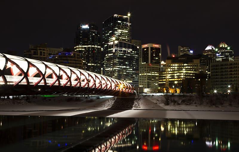 Peace Bridge at Night in Calgary Alberta