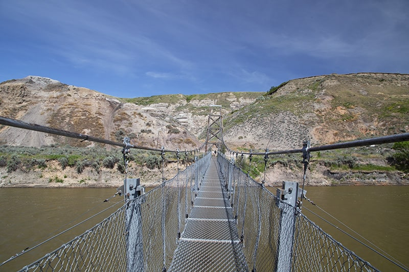 Rosedale Suspension Bridge outside of Drumheller, Alberta.