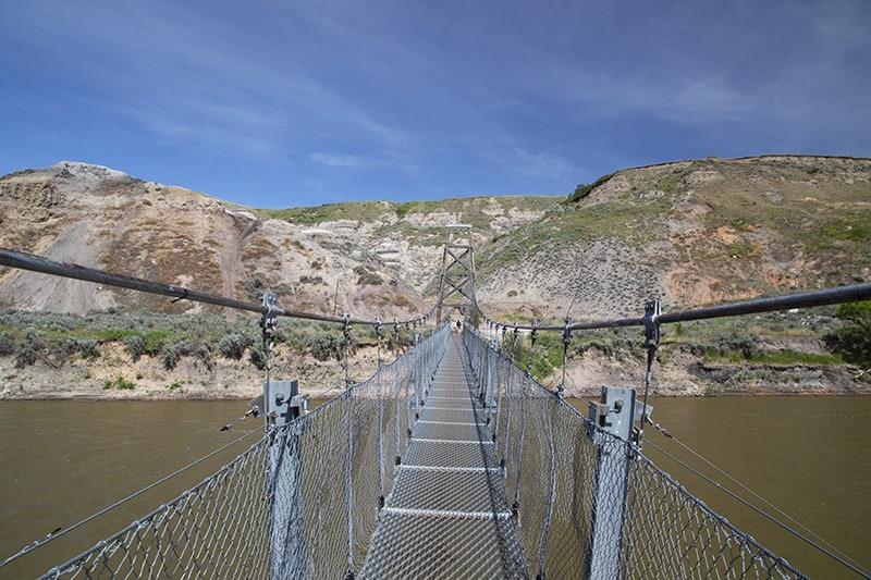 Rosedale Suspension Bridge outside of Drumheller, Alberta.