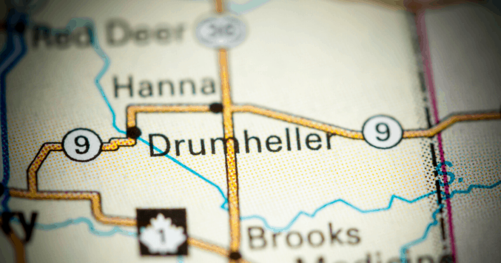 Alberta map featuring Drumheller and highway 9