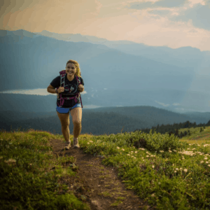Woman hiking in the mountains in Jasper National Park