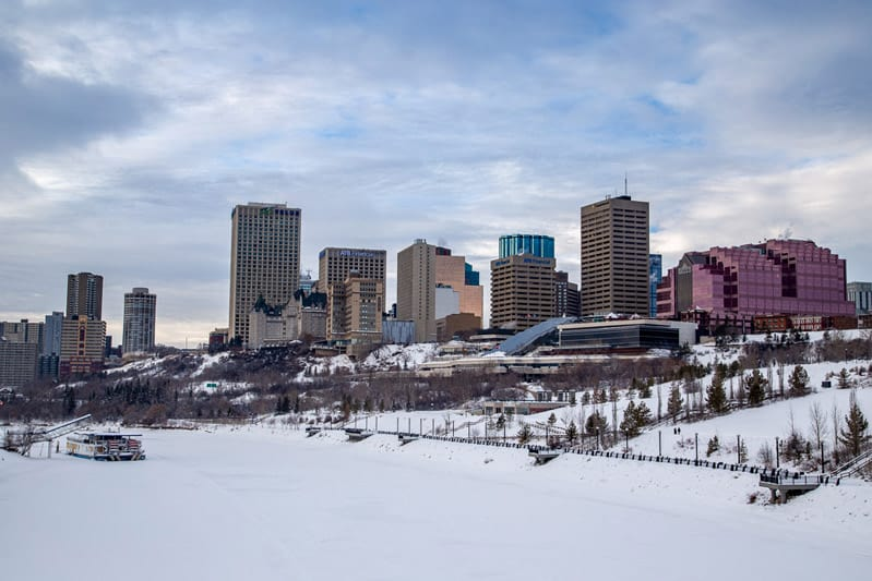 View of downtown Edmonton during winter