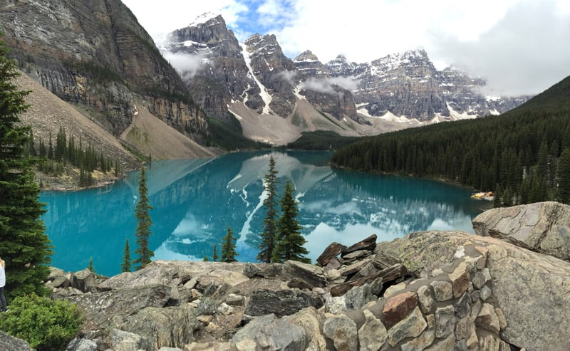 View of Moraine Lake in Banff National Park from the top of a rock pile