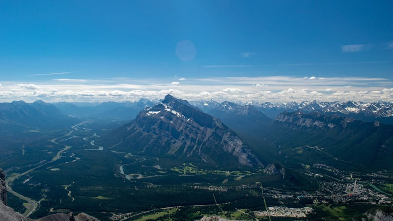 Arial view of the town of Banff and Mount Rundle