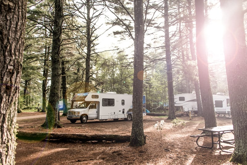 Motorhome in treed campground