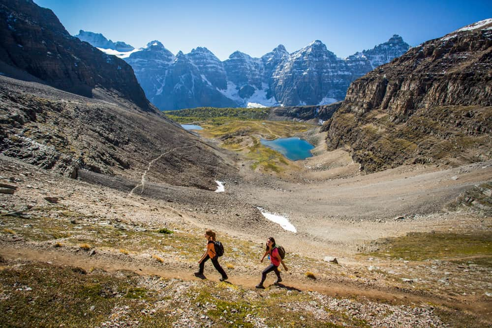 HIkers on the Sentinel Pass in Banff National Park