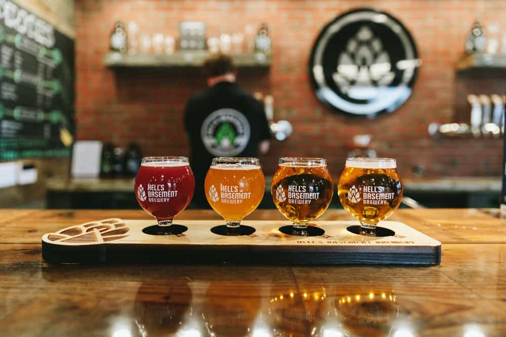 A beer flight from Hell's Basement Brewery in Medicine Hat
