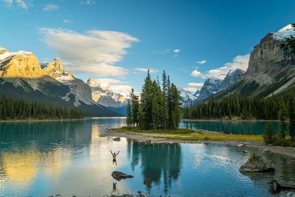 Spirit Island at Maligne Lake Jasper National Park
