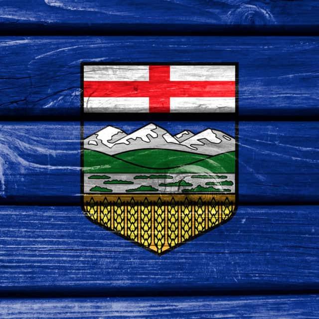 Alberta flag painted