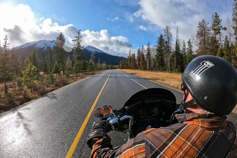 See Jasper, Alberta on a motorcycle