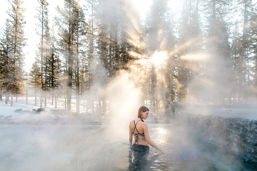 The steam rises from the Kananaskis Nordic Spa
