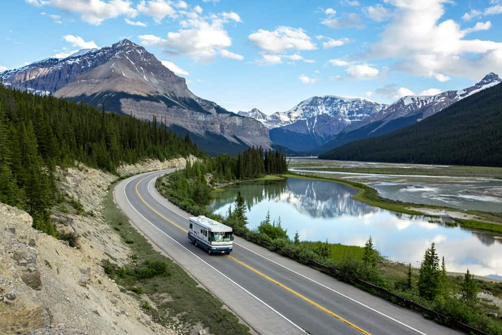 An RV on the Icefields Parkway