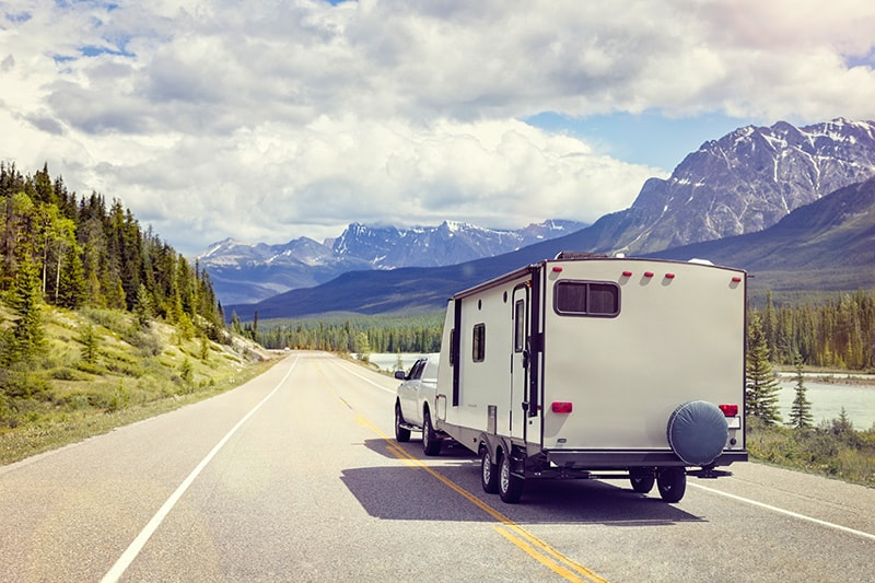 Trailer camping in Banff National Park
