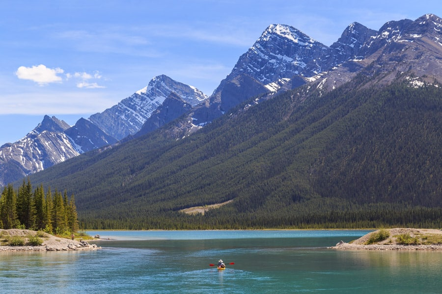 A kayaker on Spray Lakes near Canmore