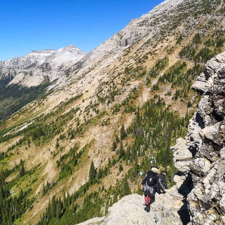 The cable section of Crypt Lake hike.