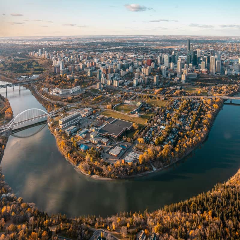 An aerial image of downtown Calgary