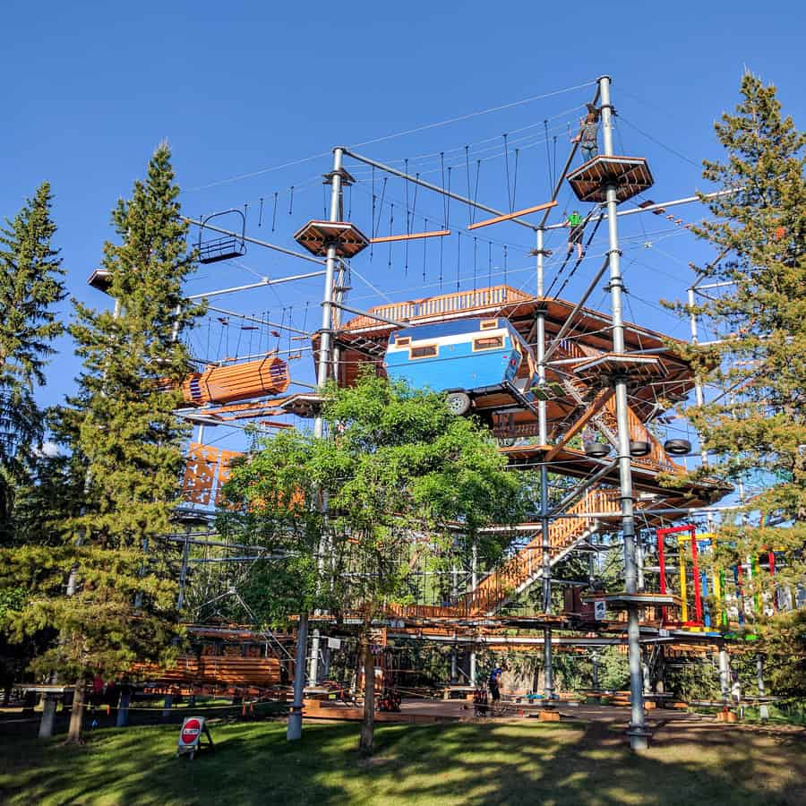 The climbing structure at Rainbow Valley Campground in Edmonton, AB