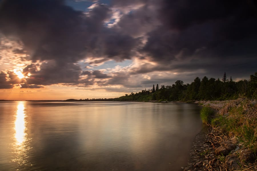 Shoreline at sunset from Sir Winston Churchill Provincial Park