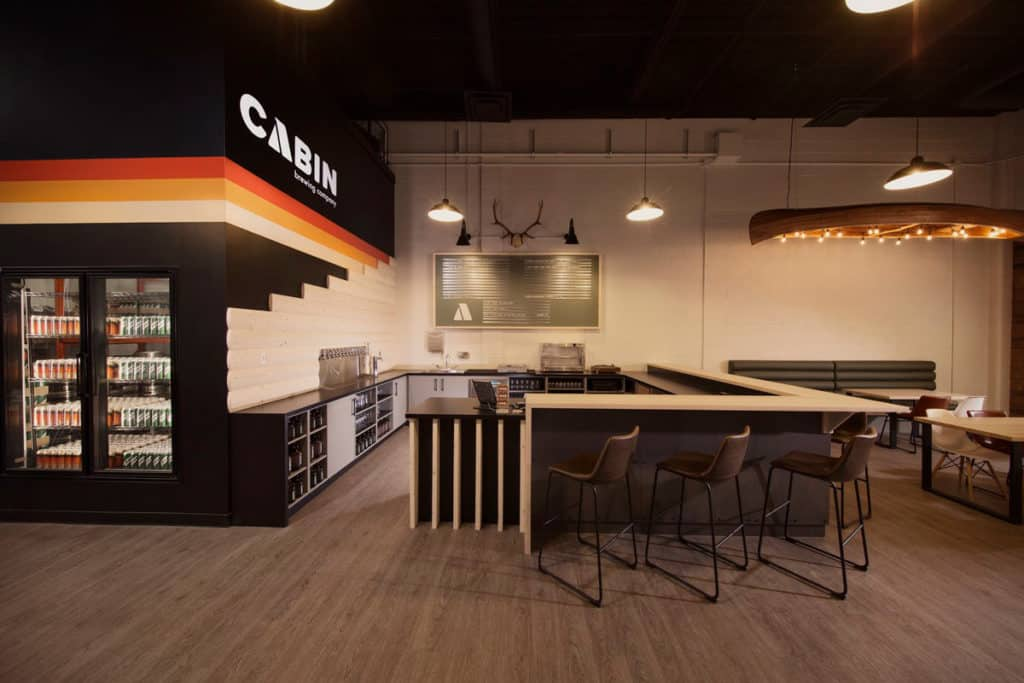 The taproom at Cabin Brewing Calgary