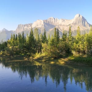 A reflection in an pond in Canmore, Alberta.
