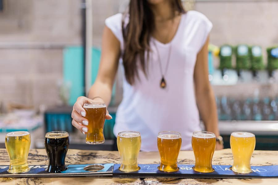 A beer flight from Cold Garden Brewing