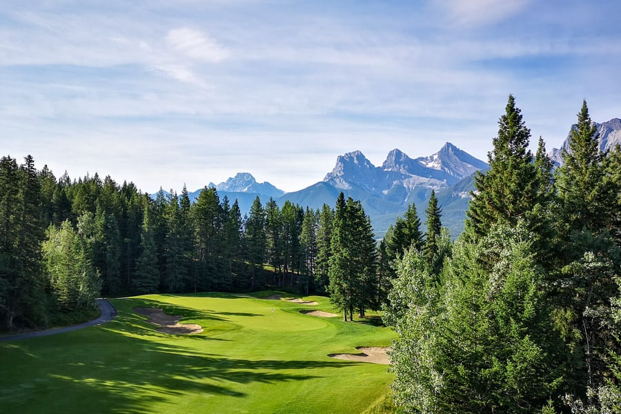 The iconic Silver Tip Golf resort with the Three Sisters in the background.