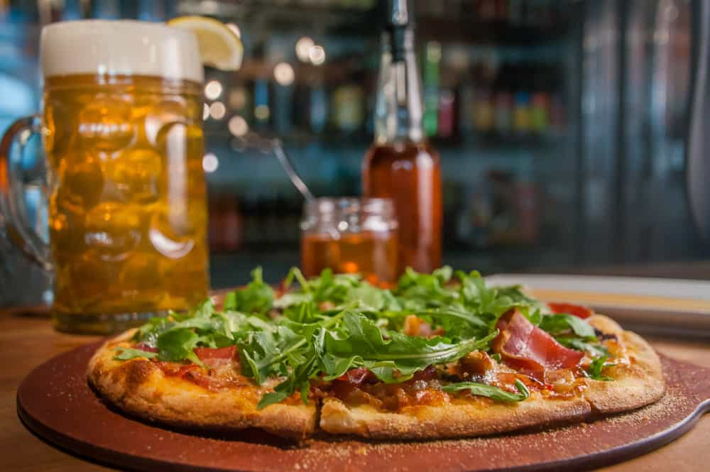 Pizza and beer at Bear Street Tavern in Banff, Alberta