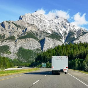 The highway leading to Banff, Alberta