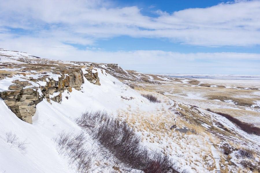 Head-Smashed-In Buffalo Jump in winter