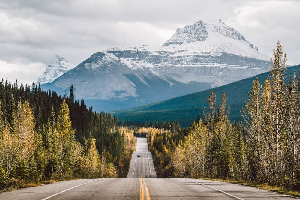 The view from the Icefields Parkway in Alberta