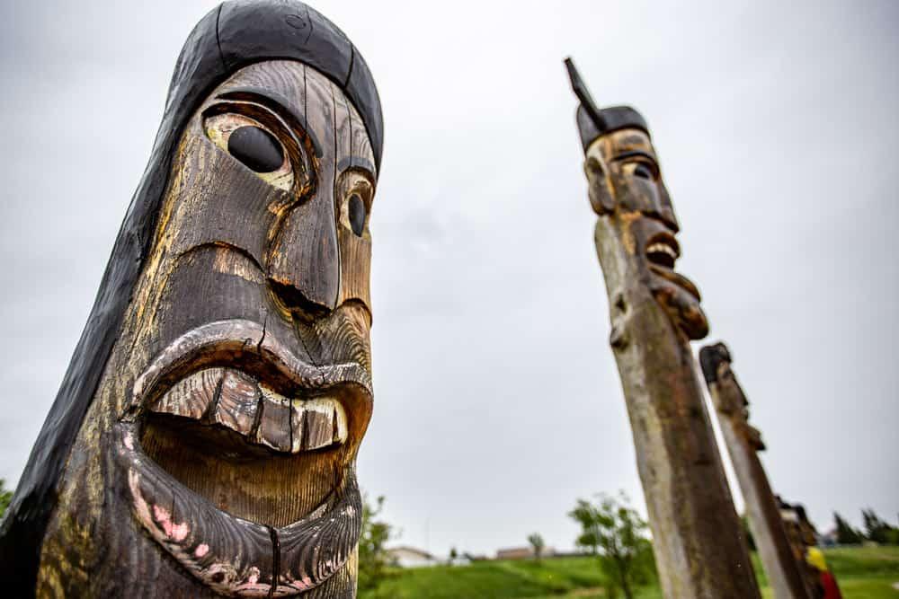 Korean Totem Poles in Airdrie, Alberta