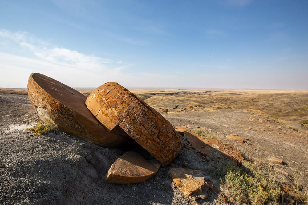 The unique boulder formations in Red Rock Coulee