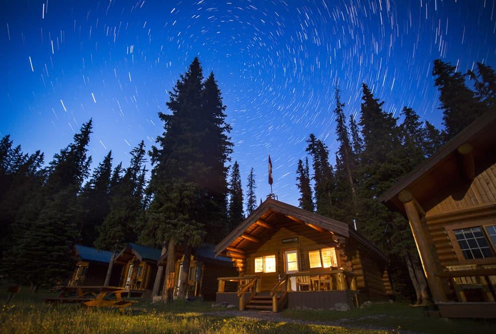 Night sky over Shadow Lake Lodge Alberta