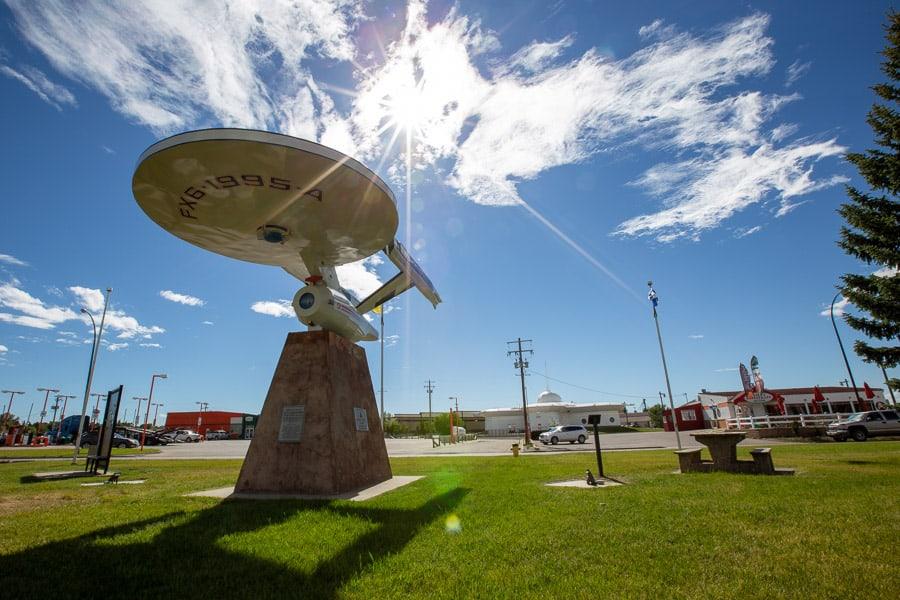 The Starship Enterprise stands tall in Vulcan, Alberta