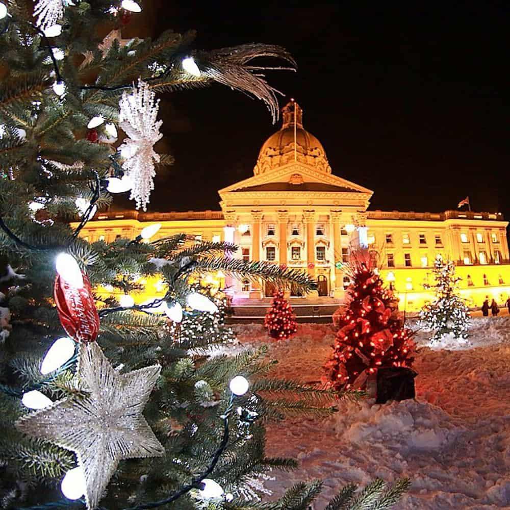 Christmas lights at Alberta Legislature