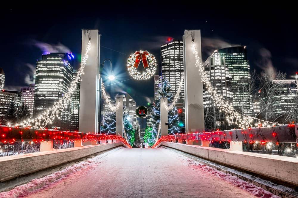 Christmas lights on Jaipur Bridge in Calgary
