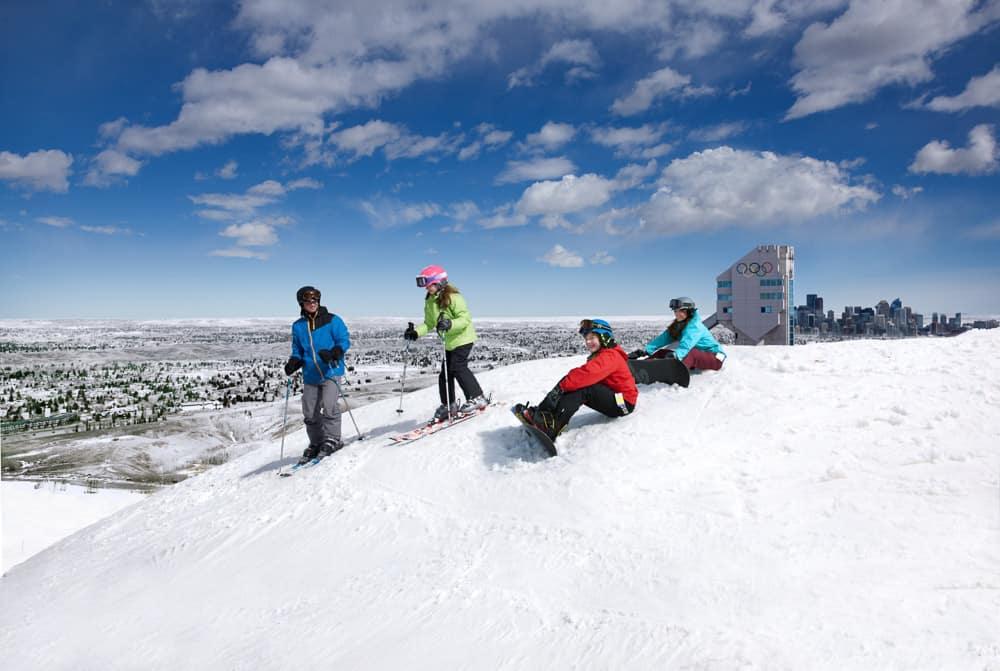 Family Skiing at Calgary Olympic Park