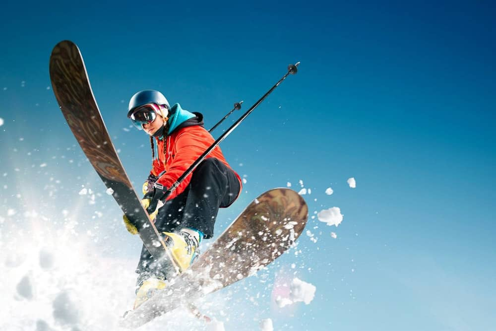 Snapshot of a skier
