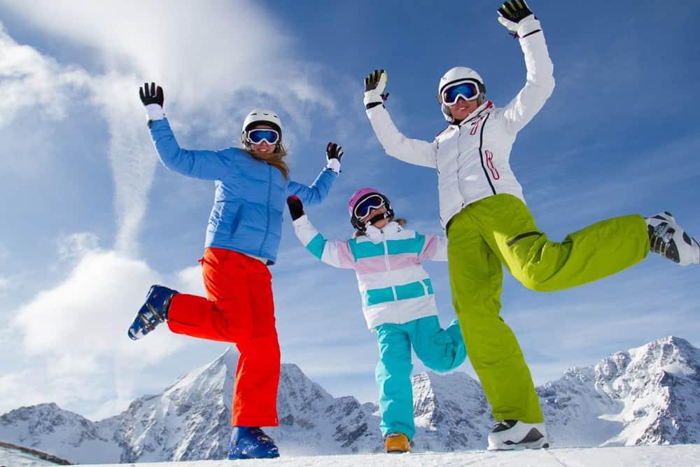 Skiers having fun