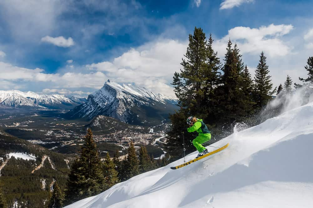 Skiing at Mt Norquay with Banff in the background